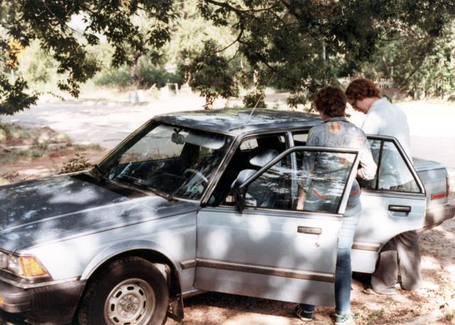 Anita's brand new 1983 Honda Accord is inspected by Anita and Bill.