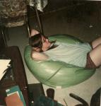 Maryanne in a beanbag.
