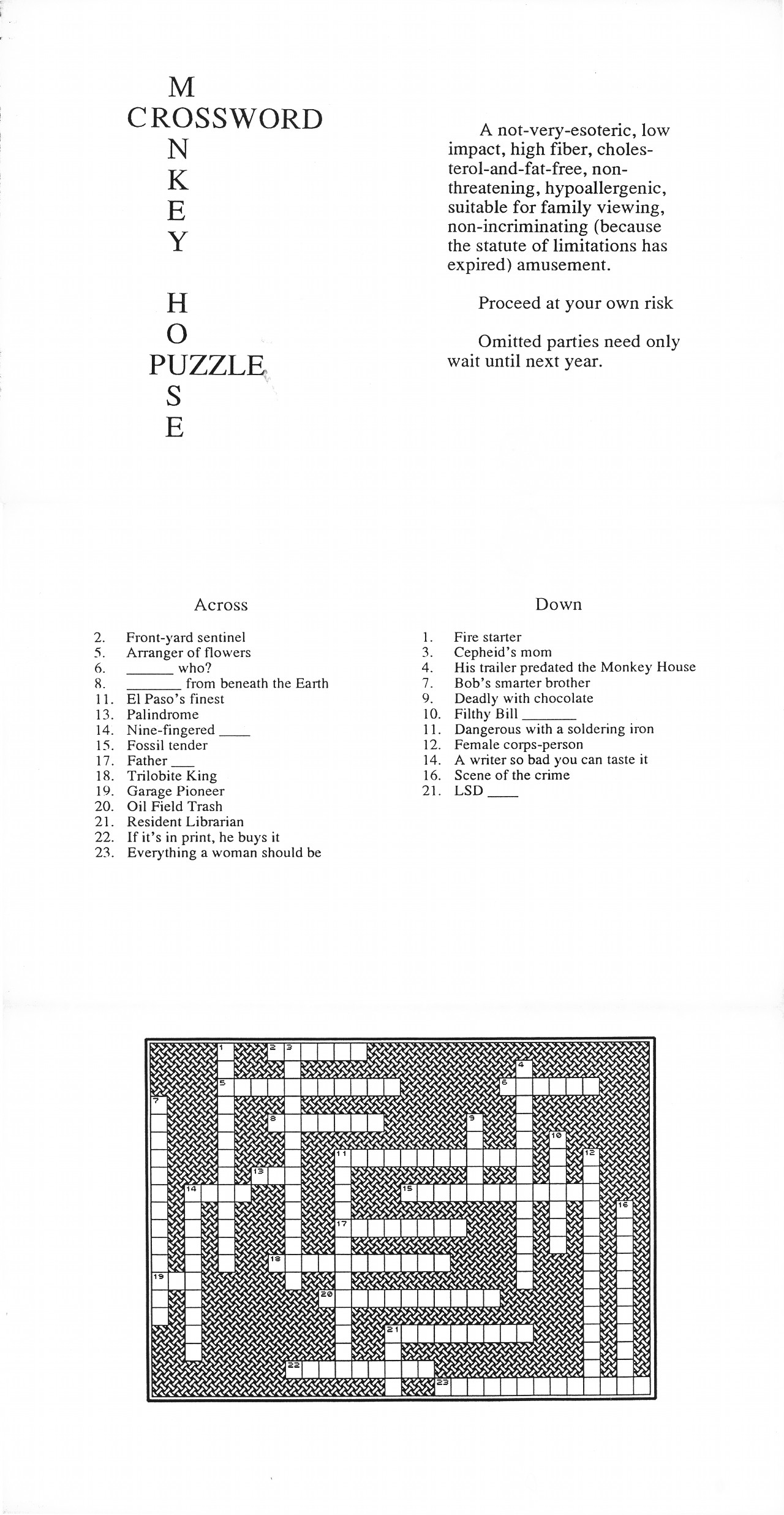 Monkey House Crossword Puzzle.
